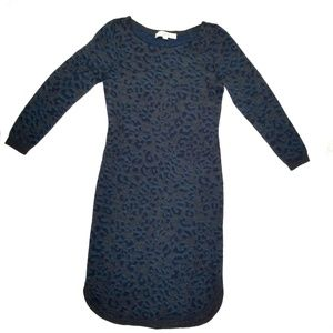 Loft Animal Print Wool Blend Sweater Dress